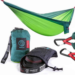 9th WAVE CloudNest 2X Person Camping Hammock with Suspension Tree Straps & Heavy Duty Carabiners - Compact, Lightweight Perfect for Two or One. Good for Camping, Travel, Hiking, Beach or Backpacking - His Perfect Gifts