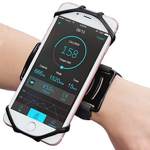 "Matone Wristband for iPhone X/8/8 Plus/7/7 Plus/6/6S Plus, 180° Rotatable Phone Holder Forearm Armband Ideal for Jogging Running Compatible with Samsung Galaxy S8/S7 & 4.0""-5.5"" Smartphone (Black) - His Perfect Gifts"