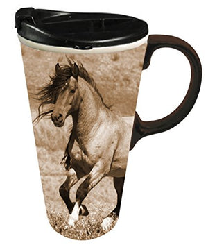 Cypress Home Ceramic Wild Chestnut Travel Coffee Mug, 17 ounces - His Perfect Gifts
