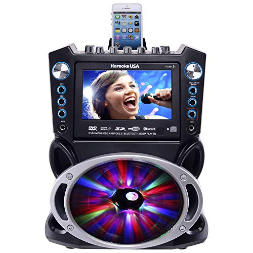 "KaraokeDVD/CDG/MP3G Karaoke System with 7"" TFT Color Screen, Record, Bluetooth and LED Sync Lights - His Perfect Gifts"