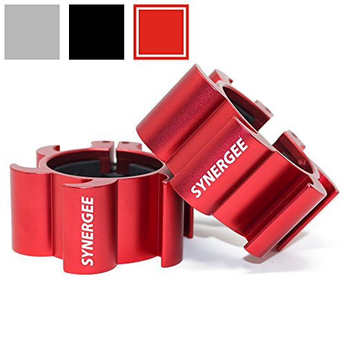"iheartsynergee Rogue Red Aluminium Barbell Collars – Locking 2"" Olympic Size Weight Clamps - Quick Release Collar Clips – Bar Clamps Great for Crossfit, Olympic Lifts and Strength Training - His Perfect Gifts"