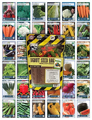 22,000 Non GMO Heirloom Vegetable Seeds, Survival Garden, Emergency Seed Vault, 34 var, Bug out Bag - His Perfect Gifts