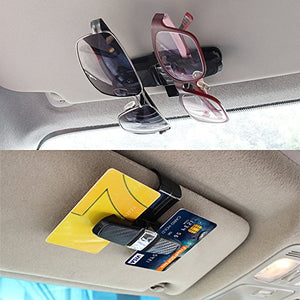 FineGood 2 Pack Glasses Holders for Car Sun Visor, Sunglasses Eyeglasses Mount with Ticket Card Clip - Black - His Perfect Gifts