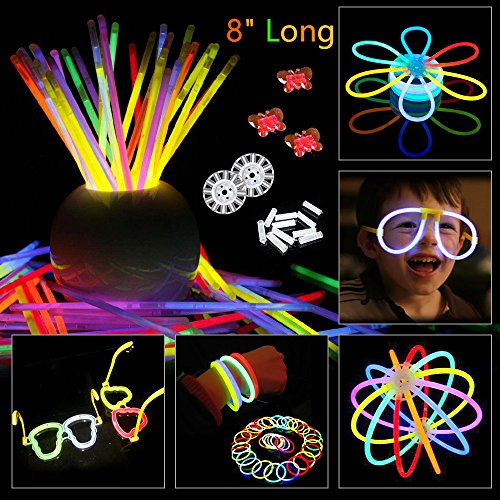 BUDI 200 Glow Sticks 467Pcs Glow Party Favors for Kids/Adults: 200 Glowsticks Party Packs 7 colors+ Connectors for Glow Necklace, Flower Balls, Luminous Glasses and Triple/Butterfly Bracelets - His Perfect Gifts