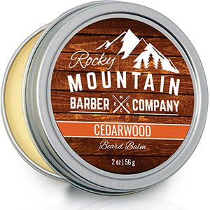 Beard Balm - Rocky Mountain Barber - 100% Natural - Premium Wax Blend with Cedarwood Scent, Nutrient Rich Bees Wax, Jojoba, Tea Tree, Coconut Oil - His Perfect Gifts