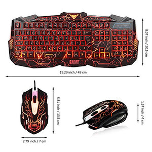 MFTEK Backlit Wired Gaming Keyboard and Mouse Combo with LED Gaming Headset Set, 40mm Speaker Driver Headphone + Mouse Pad for PC Gamer Computer Office - His Perfect Gifts