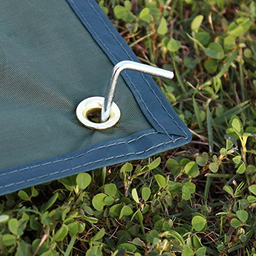 Outry Waterproof Multi-Purpose Tarp - Tent Stakes Included - Green - L - 7.9ft x 7.2ft / 2.4m x 2.2m, Lightweight Camping Picnic Ground Sheet Cover Cloth Mat Footprint Rain Fly Shelter Tarpaulin - His Perfect Gifts