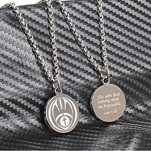 Football Cross Necklace by Pendant Sports. Presented in Black Velvet Box. Crafted in Stainless Steel. Inspiring Luke 1:37 Bible Verse on Back. Available in Many Sports. - His Perfect Gifts