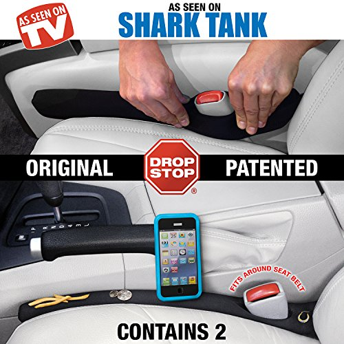 Drop Stop - The Original Patented Car Seat Gap Filler (AS SEEN ON SHARK TANK) - Set of 2 - His Perfect Gifts