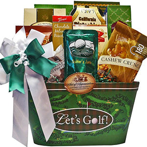 Golfers Delights Gourmet Food and Snacks Golf Gift Basket - His Perfect Gifts