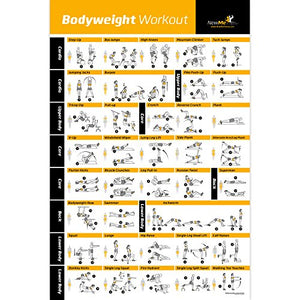 "Bodyweight Exercise Poster - Total Body Workout - Personal Trainer Fitness Program - Home Gym Poster - Tones Core, Abs, Legs, Gluts & Upper Body - Improves Training Routine - 20""x30"" - His Perfect Gifts"