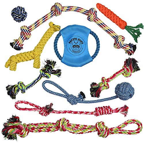 Pacific Pups Products supporting pacificpuprescue.com Dog Rope Toys for Aggressive Chewers - Set of 11 Nearly Indestructible Dog Toys - Bonus Giraffe Rope Toy - Benefits NONPROFIT Dog Rescue - His Perfect Gifts
