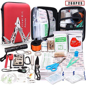 Aootek Upgraded first aid survival Kit.Emergency Kit earthquake survival kit Trauma Bag for Car Home Work Office Boat Camping Hiking Travel or Adventures - His Perfect Gifts