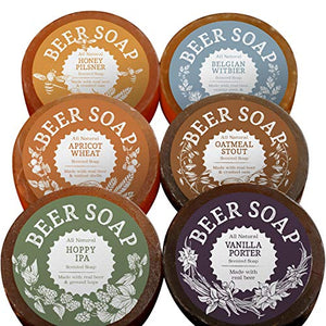 BEER SOAP 6-PACK - All Natural + Made in USA - Actually Smells Good! Perfect Craft Beer Gift Set for Beer Lovers, Guy Gift, Man Cave Gift, Drinking Gift - His Perfect Gifts