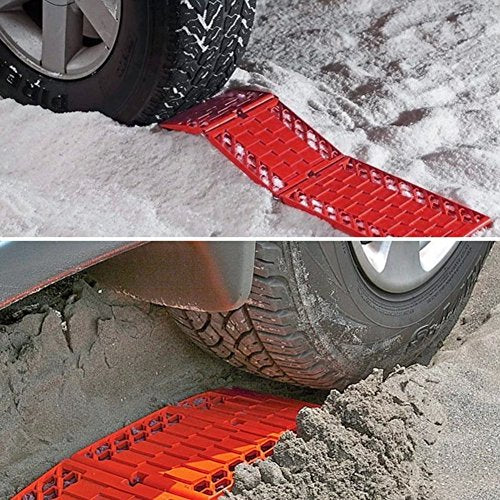 WawaAuto All-Weather Foldable Auto Traction Mat Tire Grip Aid, Car Escaper Buddy Non-Slip Mats, Ideal to Unstuck Your Car from Snow, Ice, Mud, and Sand -2 Pack - His Perfect Gifts