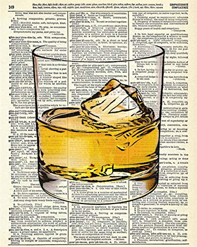 Whiskey Glass Man Cave Vintage Wall Art Upcycled Dictionary Art Print Poster 8x10 inches, Unframed - His Perfect Gifts