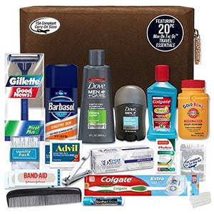 Convenience Kits Men's Premium 20-Piece Necessities Travel Kit, Featuring: Dove Men & Care Products - His Perfect Gifts