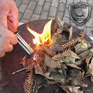Fire-Fast Trekker. Best Emergency Waterproof Survival Fire Starter. Magnesium and Euro Fire Steel Ferro Rod. Compact Durable Tool for Bushcraft, Camping, Backpacking, Hiking, Hunting, or Bug Out Bag. - His Perfect Gifts