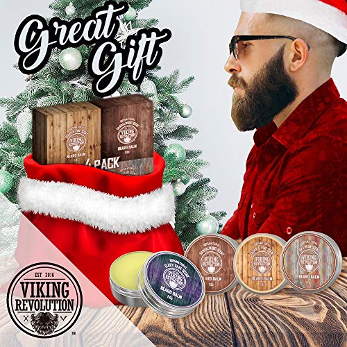 4 Beard Balm Variety Pack (1oz Each)- Sandalwood, Pine & Cedar, Bay Rum, Clary Sage- Styles, Strengthens & Softens Beards & Mustaches - Leave in Conditioner Wax for Men - His Perfect Gifts
