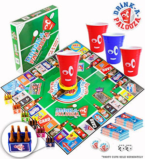 DRINK-A-PALOOZA Board Game: Combines Old-School + New School Drinking Games & Adult Games with Beer Pong, flip Cup, Kings Cup Card Game & The Best Adult Party Games - His Perfect Gifts