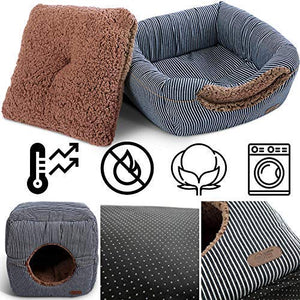 "Smiling Paws Pets Unique 2-in-1 Cat Bed/Cat Condo & Cat House | Cat Cube with Organic Cotton & Plush Sherpa Lining | Cat Bed for Indoor Cats | 13"" x 13"" x 13"" - His Perfect Gifts"
