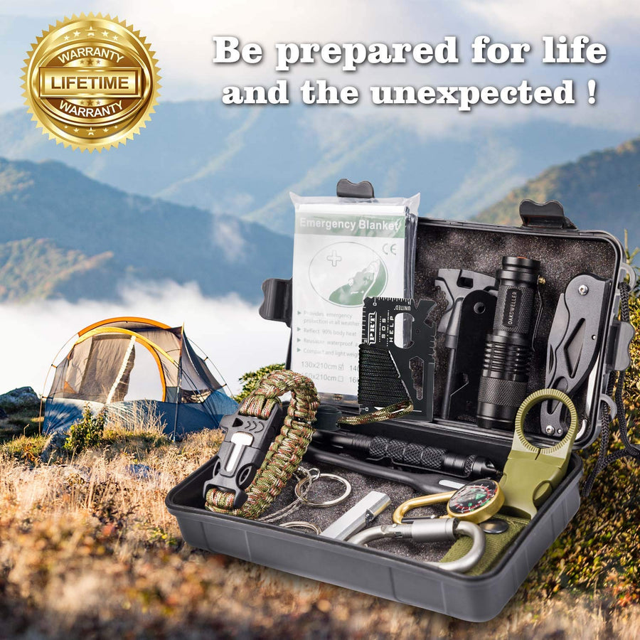 Oak Dweller 14 in 1 Emergency Survival Kit - Ultimate EDC Survival Gear - His Perfect Gifts