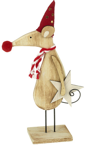 Wooden Mouse Christmas Decoration