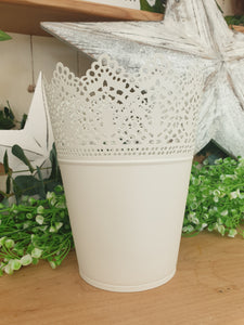 White Metal Vintage Plant Pot
