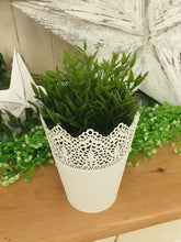 Load image into Gallery viewer, White Metal Vintage Plant Pot