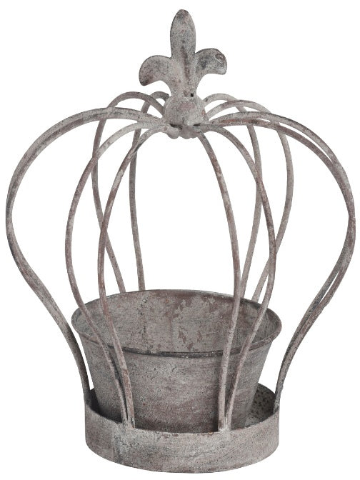 Distressed Rustic Crown Planter/Candle Holder