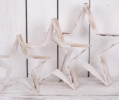 White Distressed Barn Stars