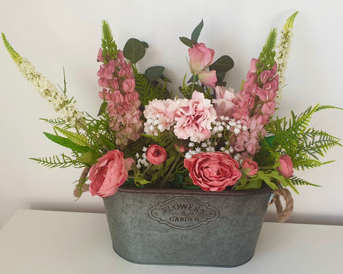 Large Zinc Planter with Flower Arrangement