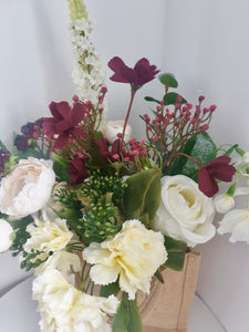 Cream and Red Flower Bags
