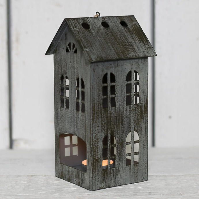 Grey Distressed Metal House T Light Holder