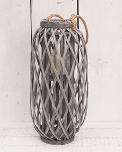 Large Grey Wicker Lantern Candle Holder