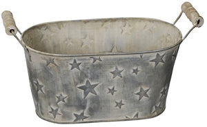 Rustic Oval Planter with Embossed Stars