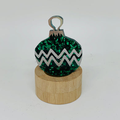 Martini and Slippers Green Glitter Bauble Brooch