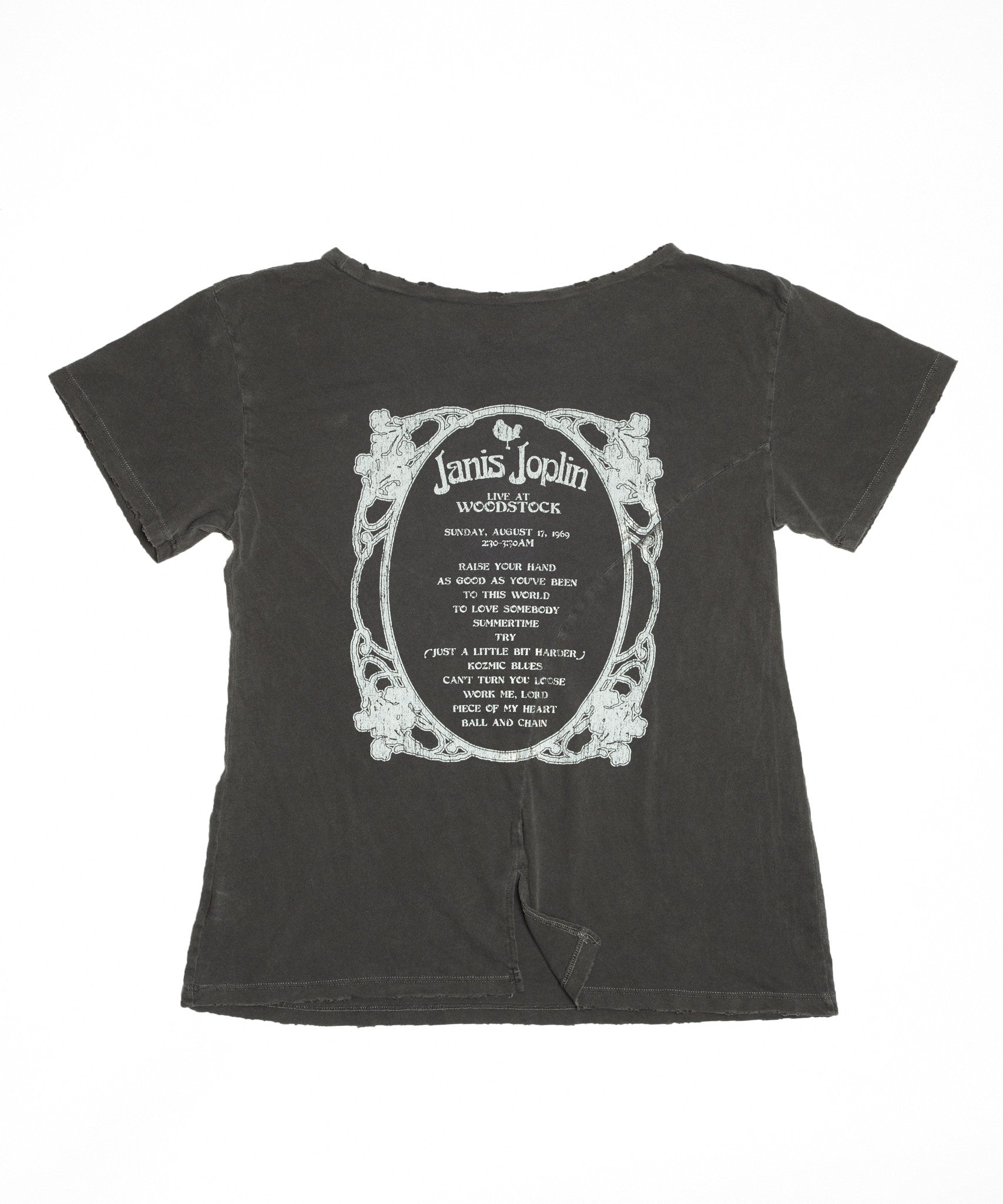 Janis Joplin Live at Woodstock Boyfriend Tee - Vintage Black - Women's Tee Shirt - Midnight Rider