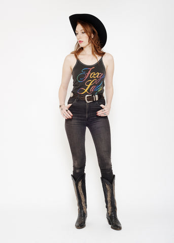 Foxy Lady Lace Tank - Vintage Black - Women's Lace Tank - Midnight Rider