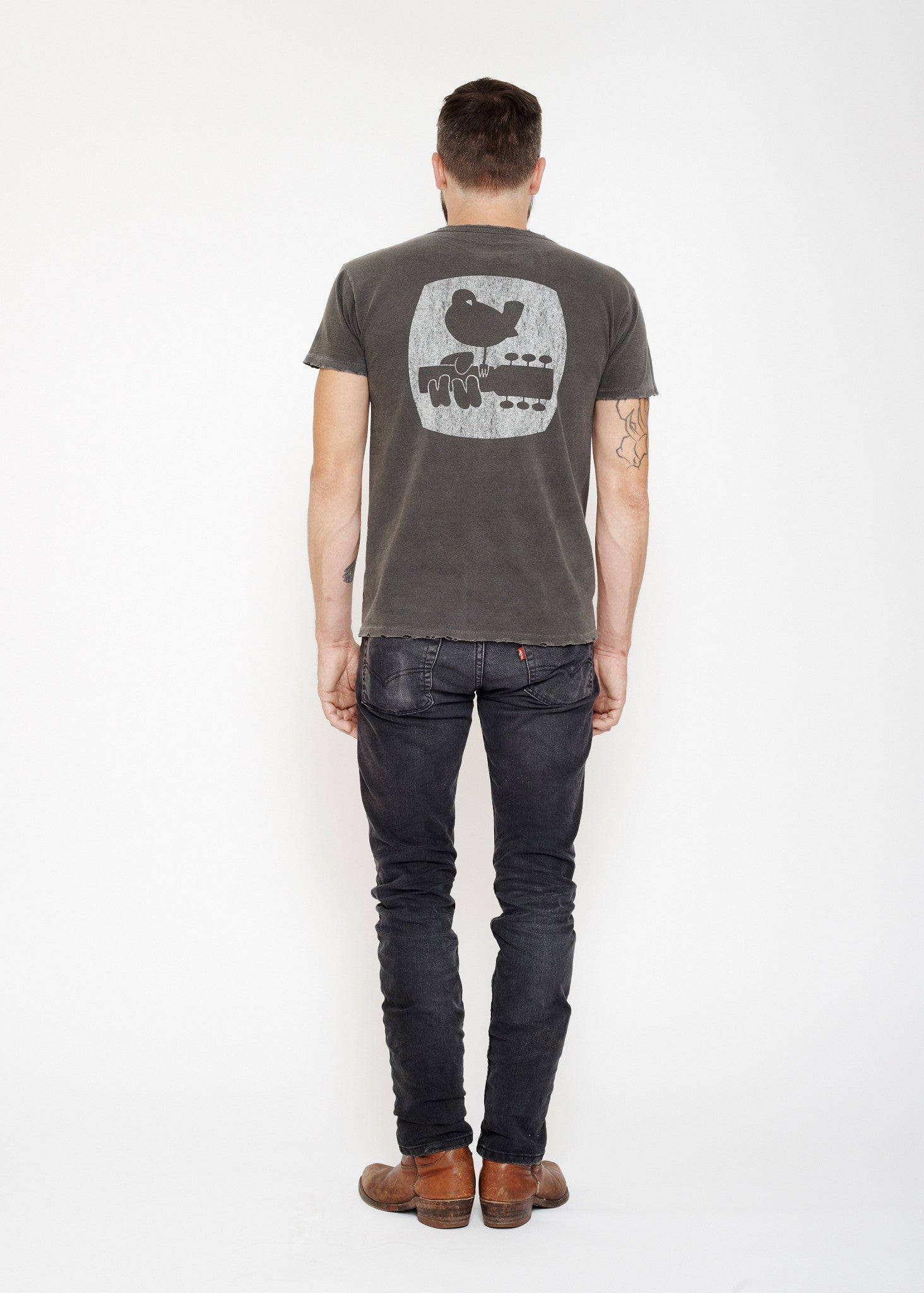 Woodstock  Back Hit Unisex Crew - Vintage Black