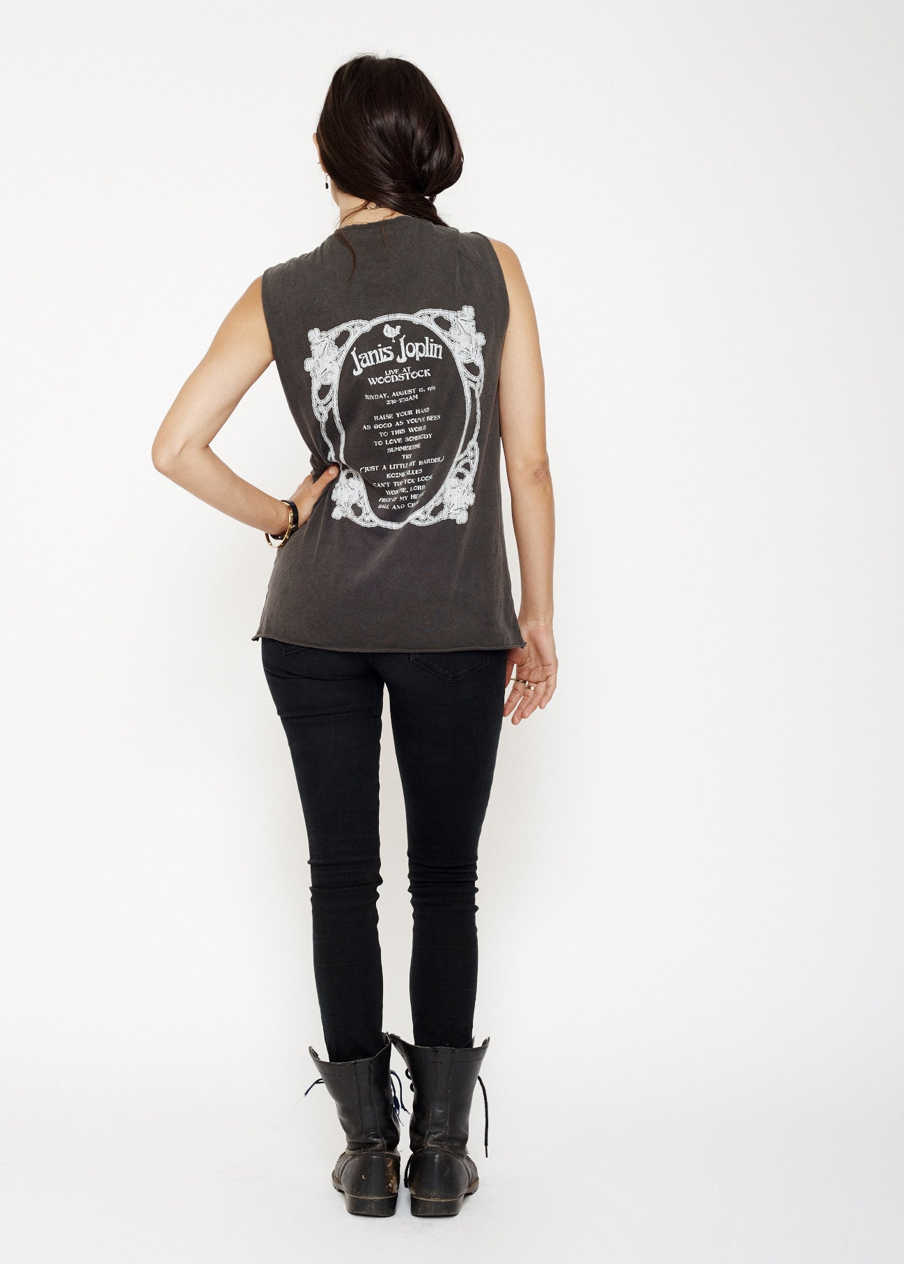 Janis Joplin Live at Woodstock Muscle Tee - Vintage Black - Women's Muscle Tee - Midnight Rider