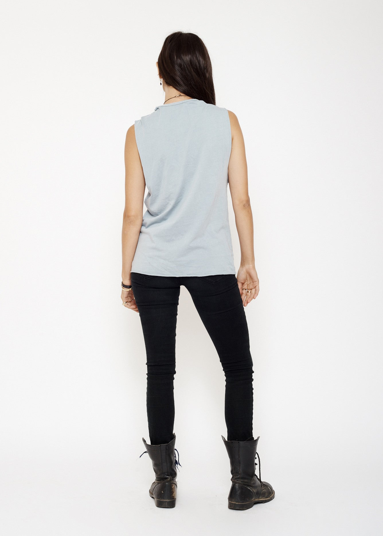 Midnight Rider Logo Muscle Tee - Sky Blue Stone Wash