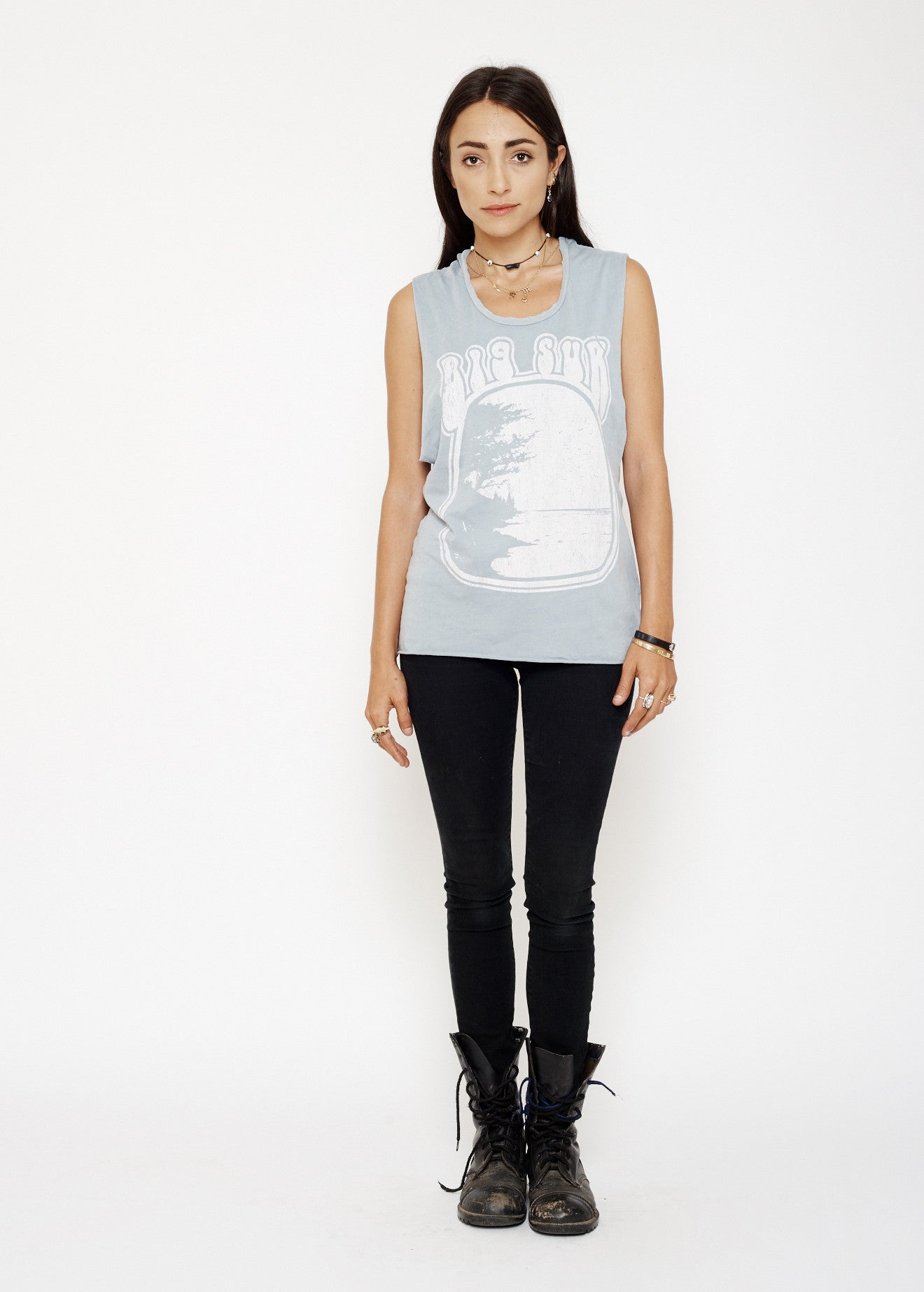 Big Sur Muscle Tee - Sky Blue Stone Wash