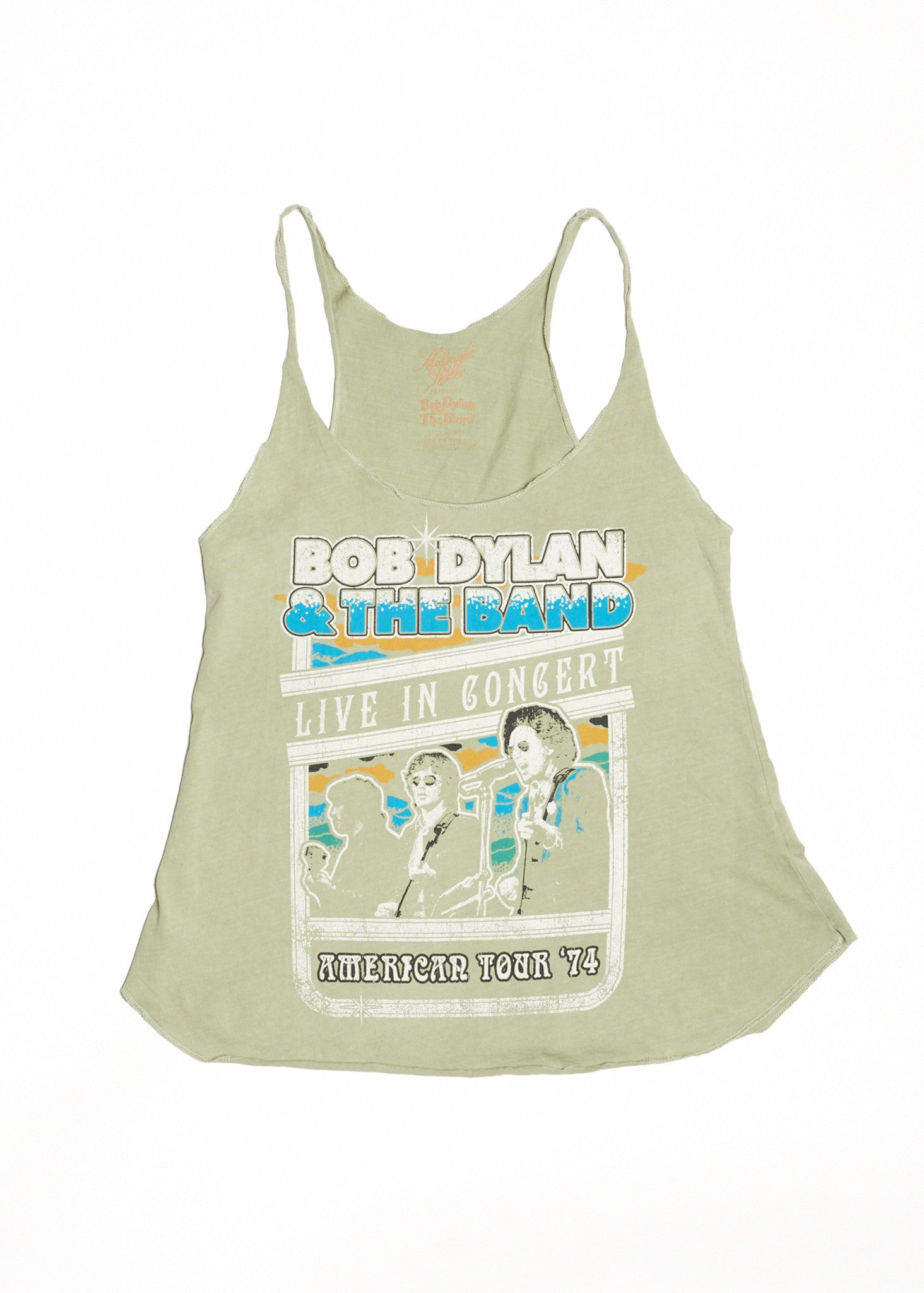 Bob Dylan and The Band Live in Concert Racerback Tank - Sage - Women's Tee Shirt - Midnight Rider