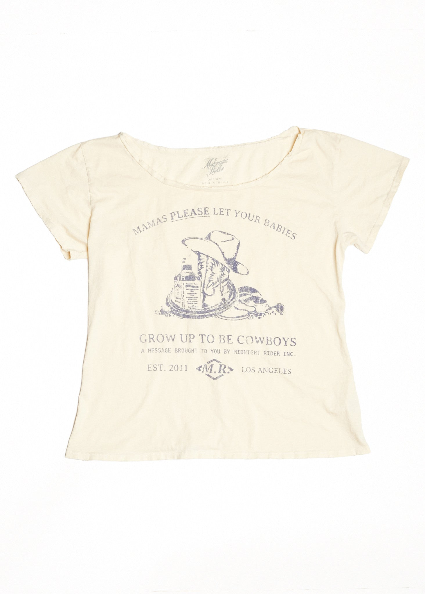 Please Let Your Babies Grow Up To Be Cowboys Boyfriend Tee - Dirty White