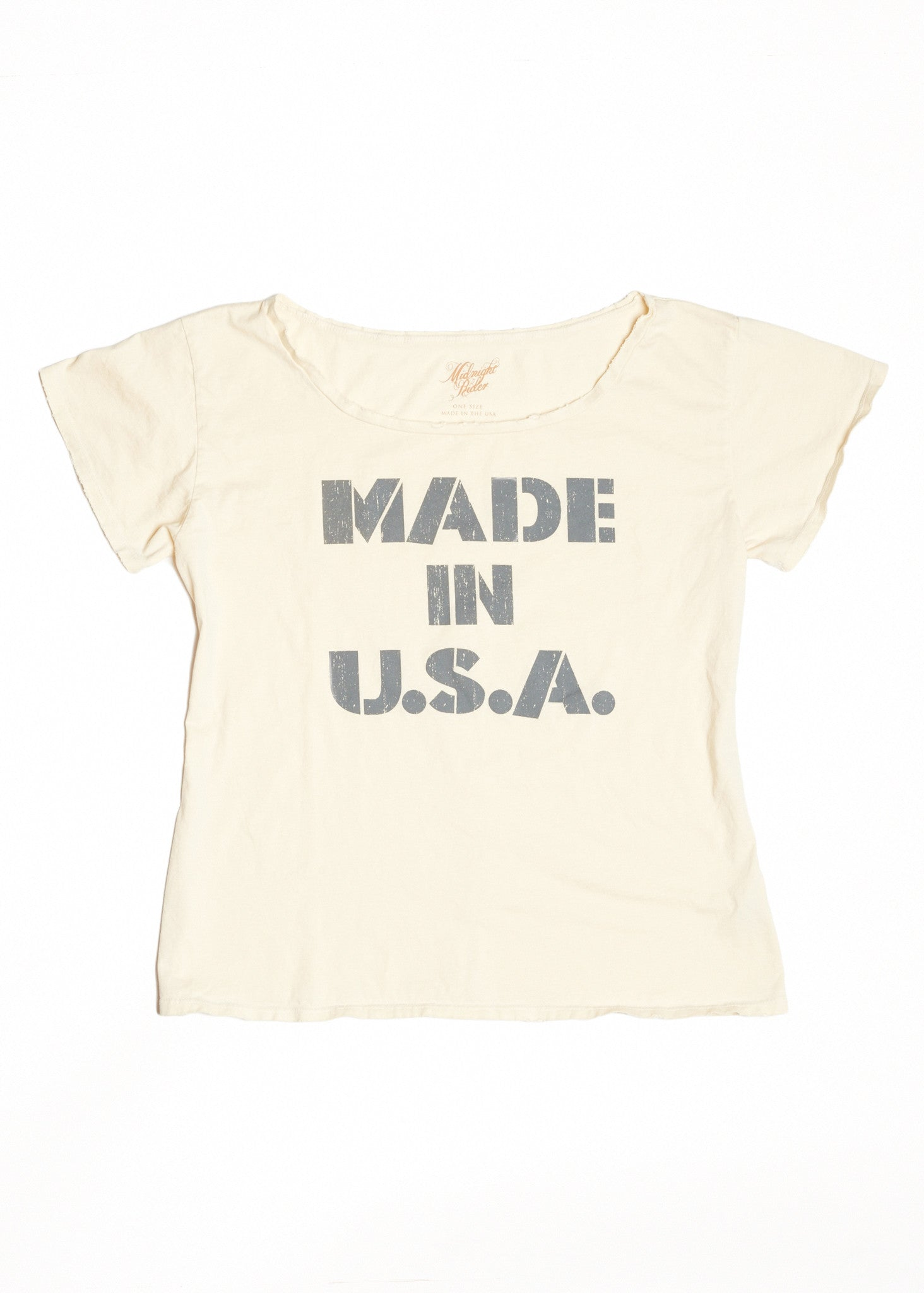Made in U.S.A. Boyfriend Tee - Dirty White - Women's Boyfriend Tee - Midnight Rider