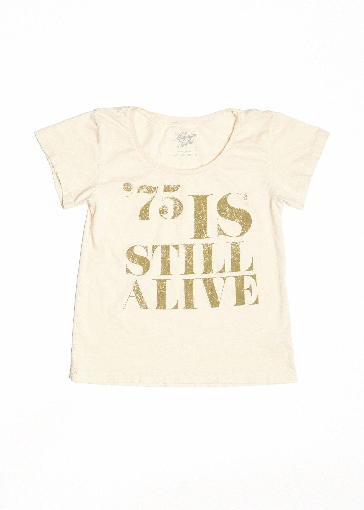 75 is Still Alive Women's Crew - Dirty White with Sage Print - Women's Tee Shirt - Midnight Rider