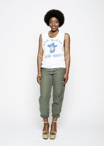 75 is Still Alive Women's Crew - Dirty White with Sage Print