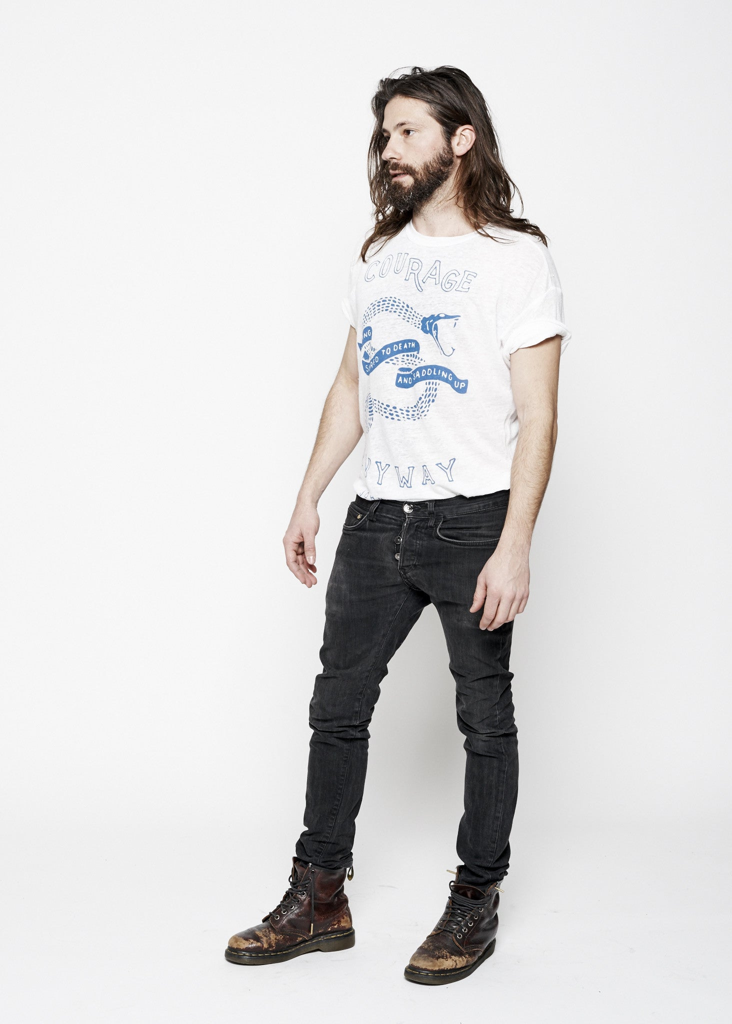 Courage Linen Men's Crew - Bright White - Linen Tee - Midnight Rider