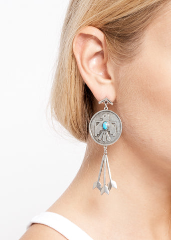 Cher's Thunderbird Earrings - Howlite Turquoise - Accessories - Midnight Rider